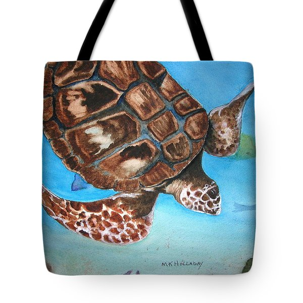 Tote Bag featuring the painting Loggerhead Turtle by Mary Kay Holladay