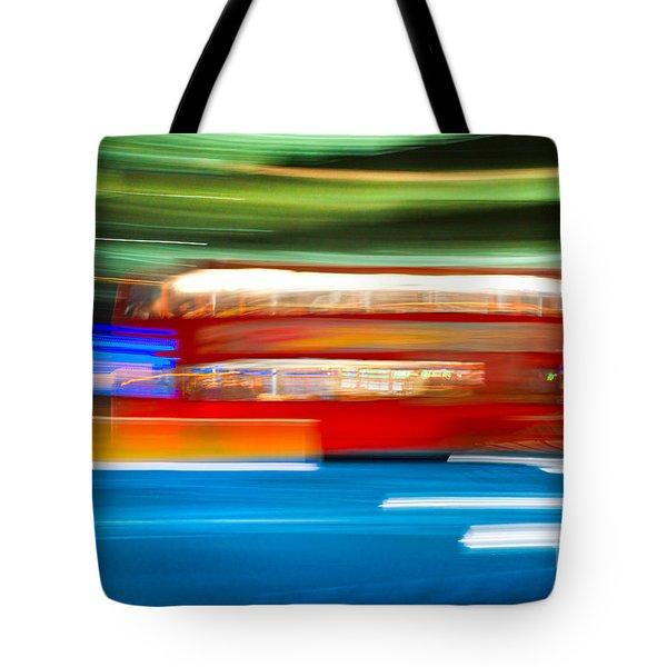 Tote Bag featuring the photograph London Bus Motion by Luciano Mortula