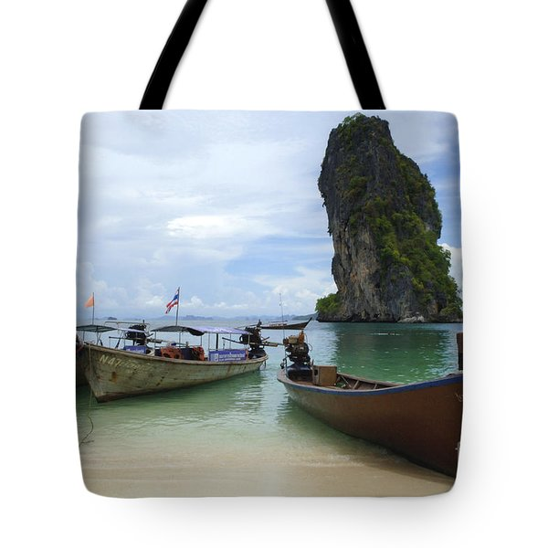 Long Tail Boats Thailand Tote Bag by Bob Christopher