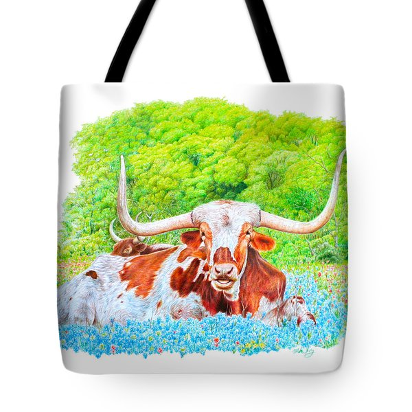 Tote Bag featuring the drawing Longhorns In Bluebonnets by Mike Ivey