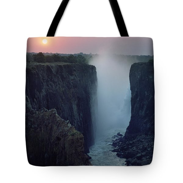 Looking Along Victoria Falls At Dusk Tote Bag by Axiom Photographic