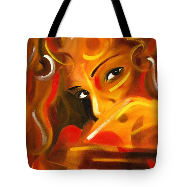 Looking Over Her Shoulder Tote Bag by Hakon Soreide