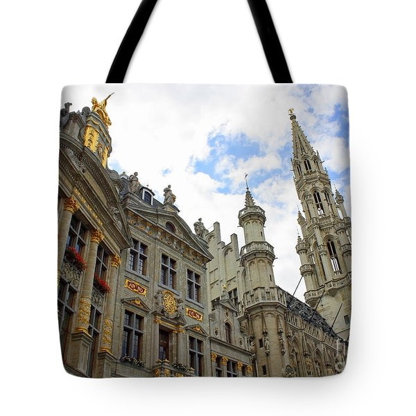 Looking Up At The Grand Place Tote Bag by Carol Groenen