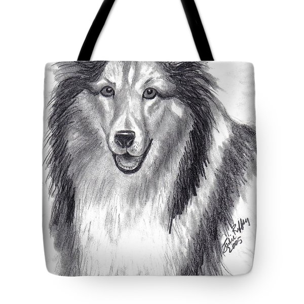 Tote Bag featuring the drawing Looks Like Lassie by Julie Brugh Riffey
