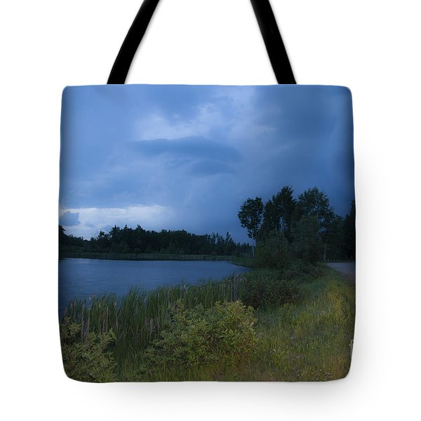 Looming Alberta Storm Tote Bag by Darcy Michaelchuk