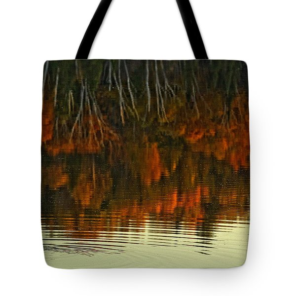 Loon In Opeongo Lake With Reflection Tote Bag by Robert Postma