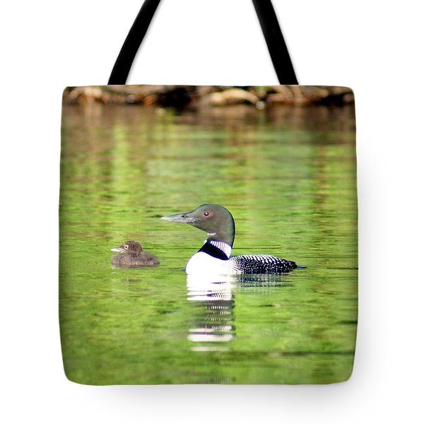 Loons Big And Small Tote Bag by Steven Clipperton