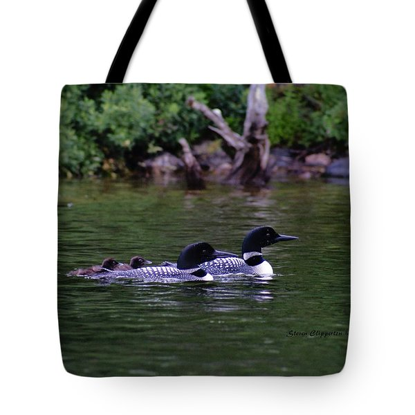 Loons With Twins 2 Tote Bag by Steven Clipperton