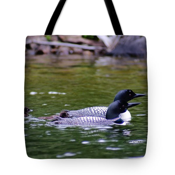 Loons With Twins 3 Tote Bag by Steven Clipperton