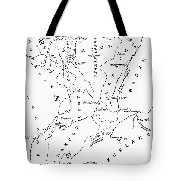 Lorraine And Alsace: Map Tote Bag by Granger