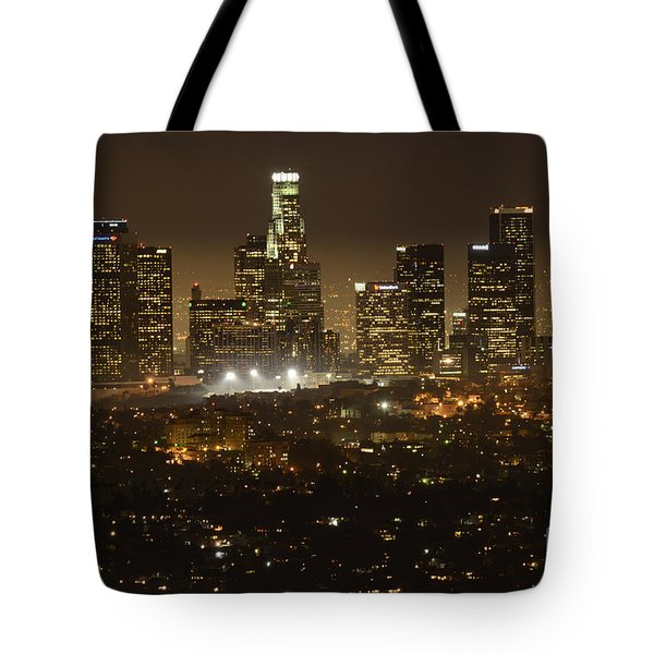 Los Angeles Skyline At Night Tote Bag by Bob Christopher