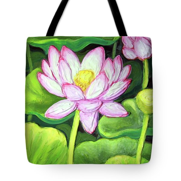 Tote Bag featuring the painting Lotus 1 by Inese Poga