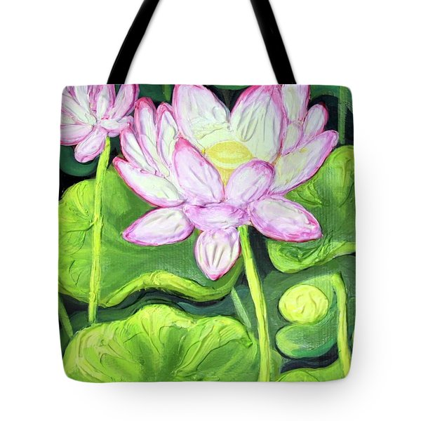 Tote Bag featuring the painting Lotus 2 by Inese Poga