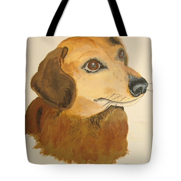 Tote Bag featuring the painting Lovable Dachshund by Norm Starks