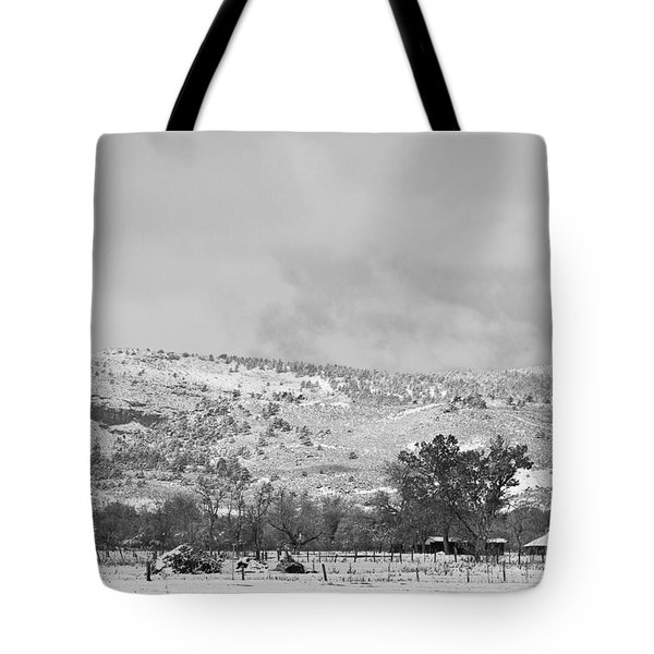 Low Winter Storm Clouds Colorado Rocky Mountain Foothills 7 Bw Tote Bag by James BO  Insogna