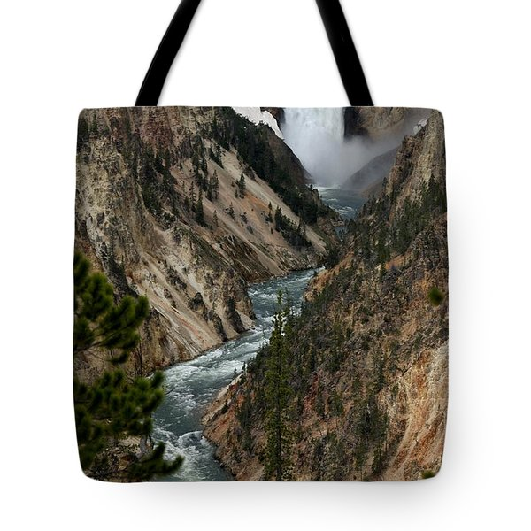Lower Falls And Yellowstone River Tote Bag by Living Color Photography Lorraine Lynch