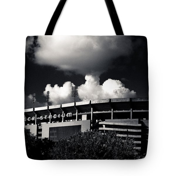Lsu Tiger Stadium Black And White Tote Bag