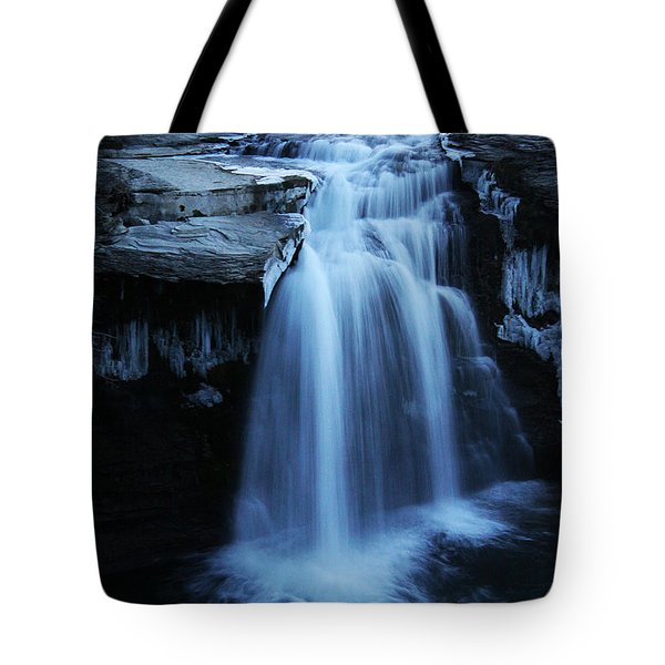 Tote Bag featuring the photograph Lundbreck Falls by Alyce Taylor