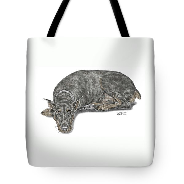 Lying Low - Doberman Pinscher Dog Print Color Tinted Tote Bag by Kelli Swan