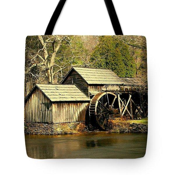 Mabry Mill In Winter Tote Bag by Myrna Bradshaw