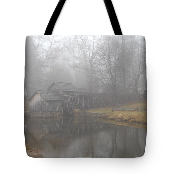 Tote Bag featuring the photograph Mabry Mill On A Foggy Day by Diannah Lynch
