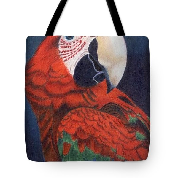 Tote Bag featuring the drawing Macaw Parrot by Ana Tirolese