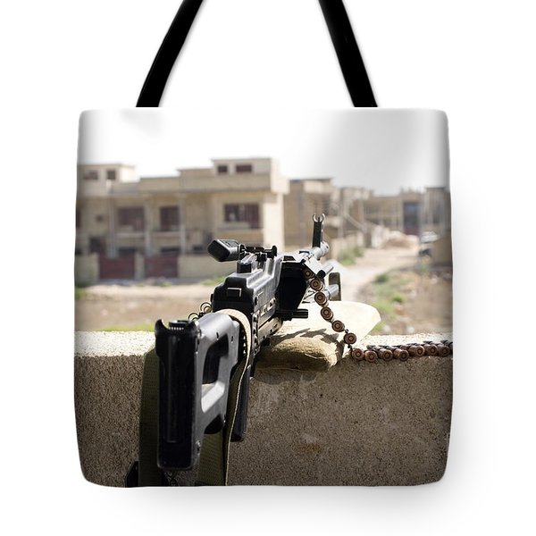 Machine Gun Post At A Prison Tote Bag by Terry Moore