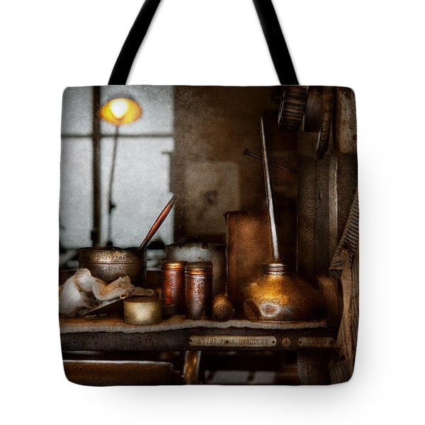 Machinist - Tool - Got Oil  Tote Bag by Mike Savad