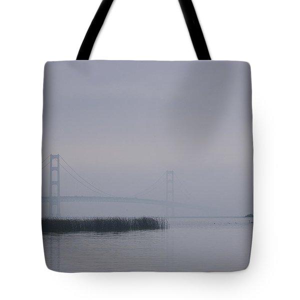 Mackinac Bridge And Swans Tote Bag by Randy Pollard