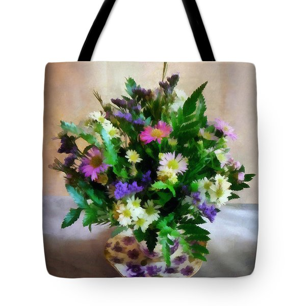 Magenta And White Mum Bouquet Tote Bag by Susan Savad