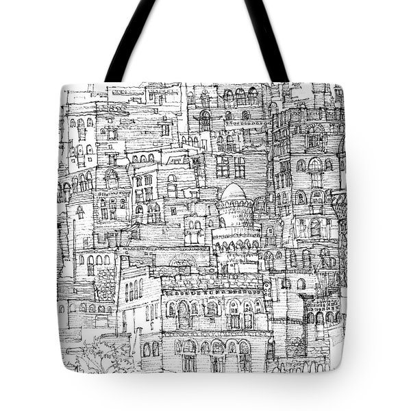 Magical Architecture Of Yemen In Ink  Tote Bag by Adendorff Design