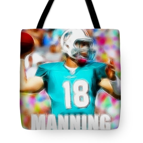 Magical Peyton Manning Miami Dolphins Tote Bag by Paul Van Scott