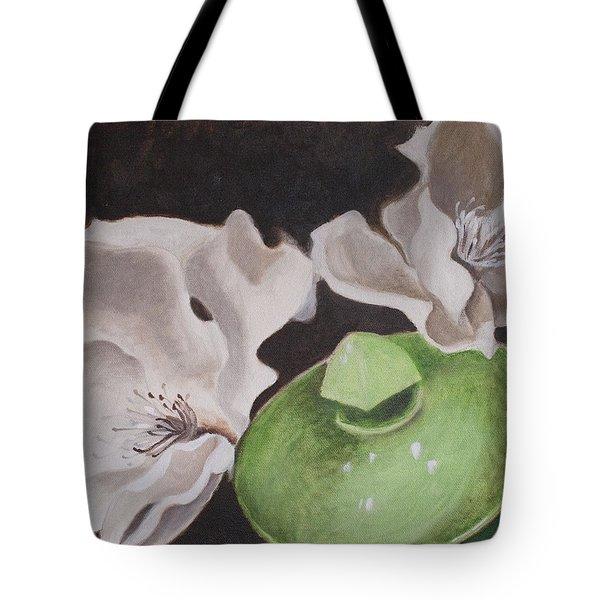 Magnolias With Green Sugar Bowl Tote Bag