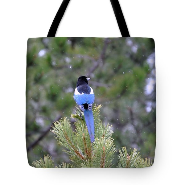 Tote Bag featuring the photograph Magpie In Snow by Dorrene BrownButterfield