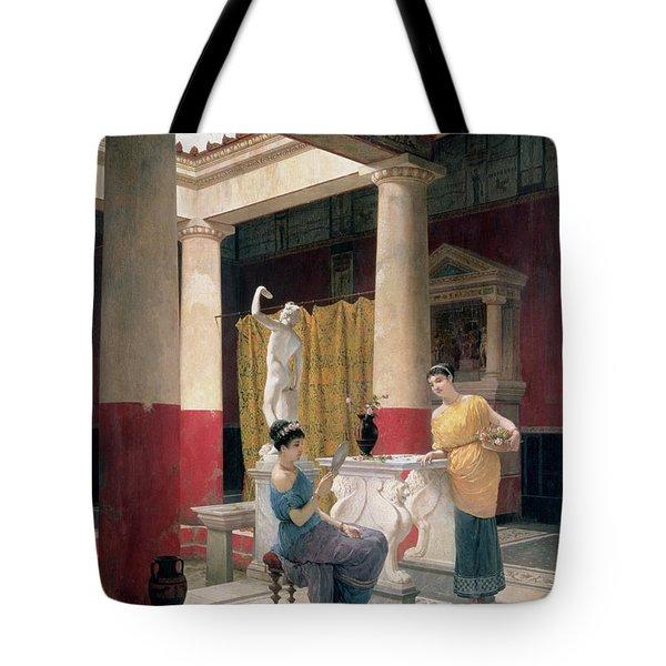 Maidens In A Classical Interior Tote Bag by Luigi Bazzani