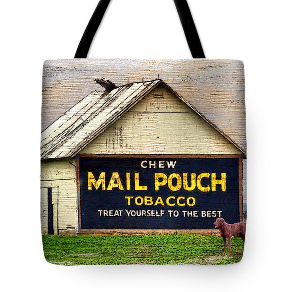 Tote Bag featuring the digital art Mail Pouch Barn by Mary Almond