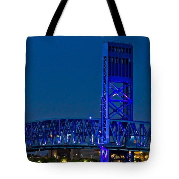 Main Street Bridge Jacksonville Tote Bag by Debra and Dave Vanderlaan