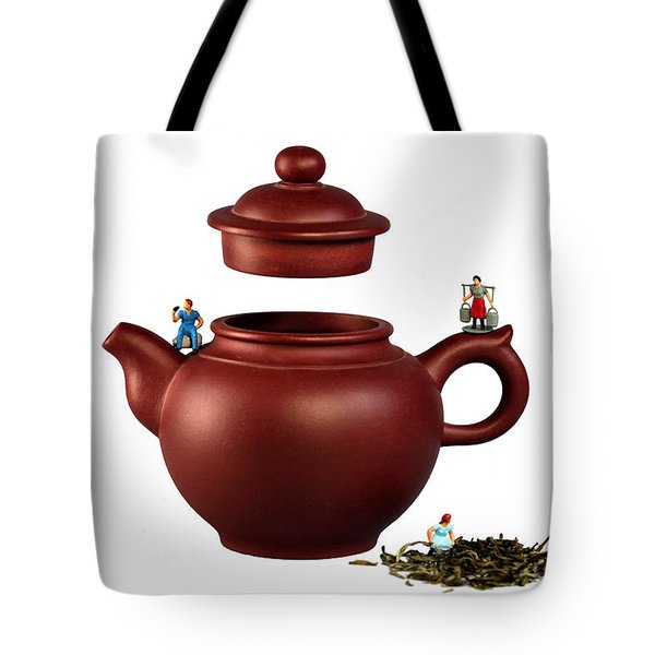 Making Green Tea On A Clay Teapot Tote Bag by Paul Ge