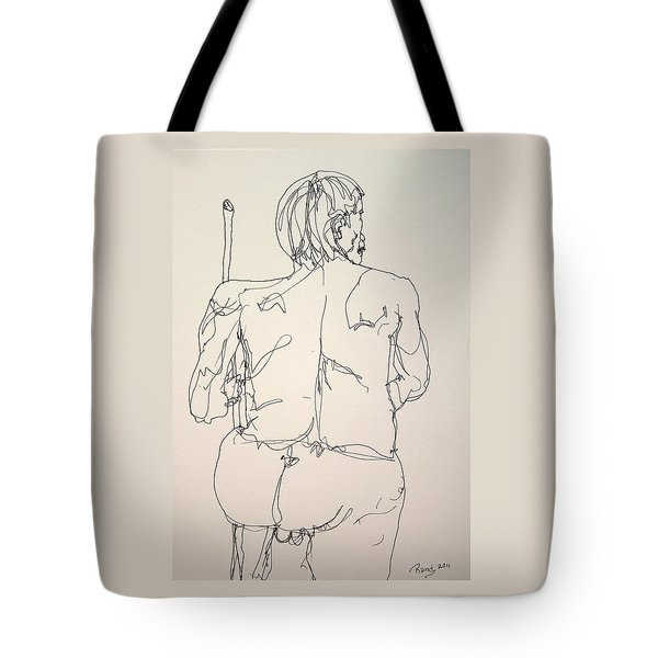 The Naked Man Hiking Tote Bag by Rand Swift