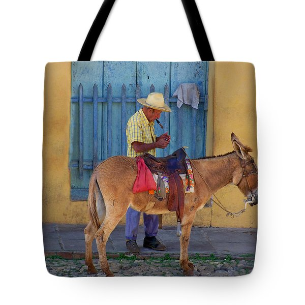 Tote Bag featuring the photograph Man And A Donkey by Lynn Bolt