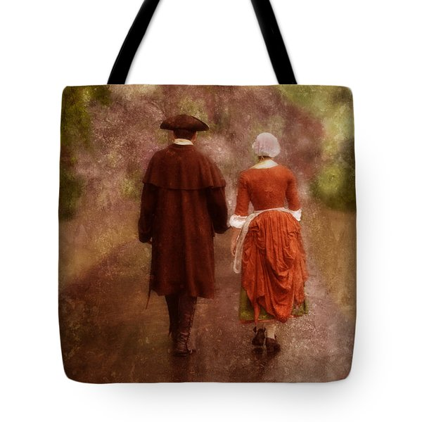Man And Woman In 18th Century Clothing Walking Tote Bag by Jill Battaglia