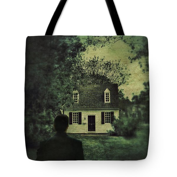 Man In Front Of Cottage Tote Bag by Jill Battaglia