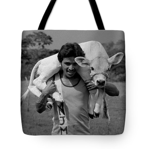 Man With Calf Tote Bag by Michael Mogensen