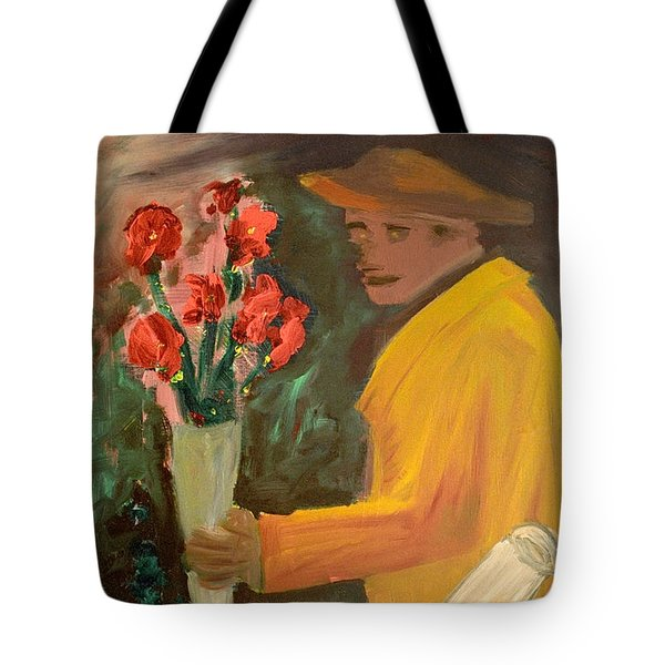 Man With Flowers  Tote Bag by Bruce Stanfield