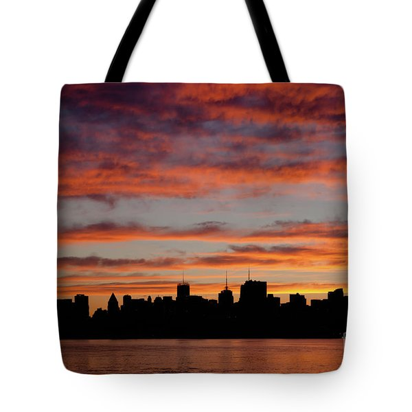 Manhattan Dawn Skyline II Tote Bag by Clarence Holmes