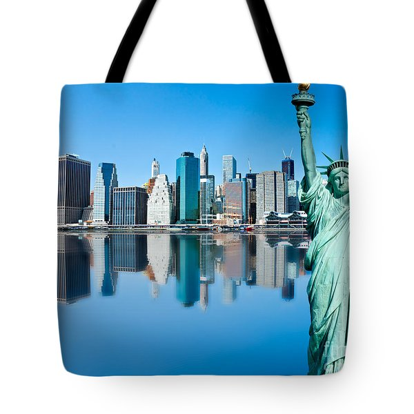 Tote Bag featuring the photograph Manhattan Liberty by Luciano Mortula