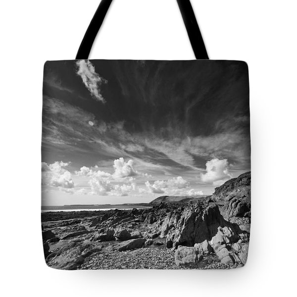 Tote Bag featuring the photograph Manorbier Rocks by Steve Purnell