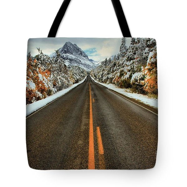 Many Glacier Road Tote Bag by Adam Jewell