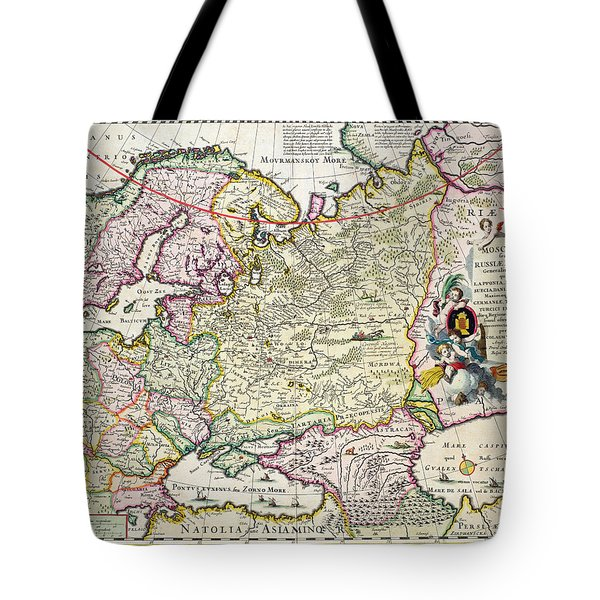 Map Of Asia Minor Tote Bag by Nicolaes Visscher