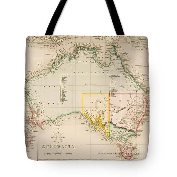 Map Of Australia And New Zealand Tote Bag by J Archer